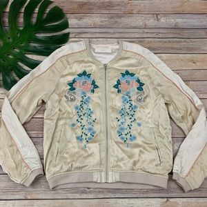 Blank NYC 'pink lady' embroidered bomber jacket
